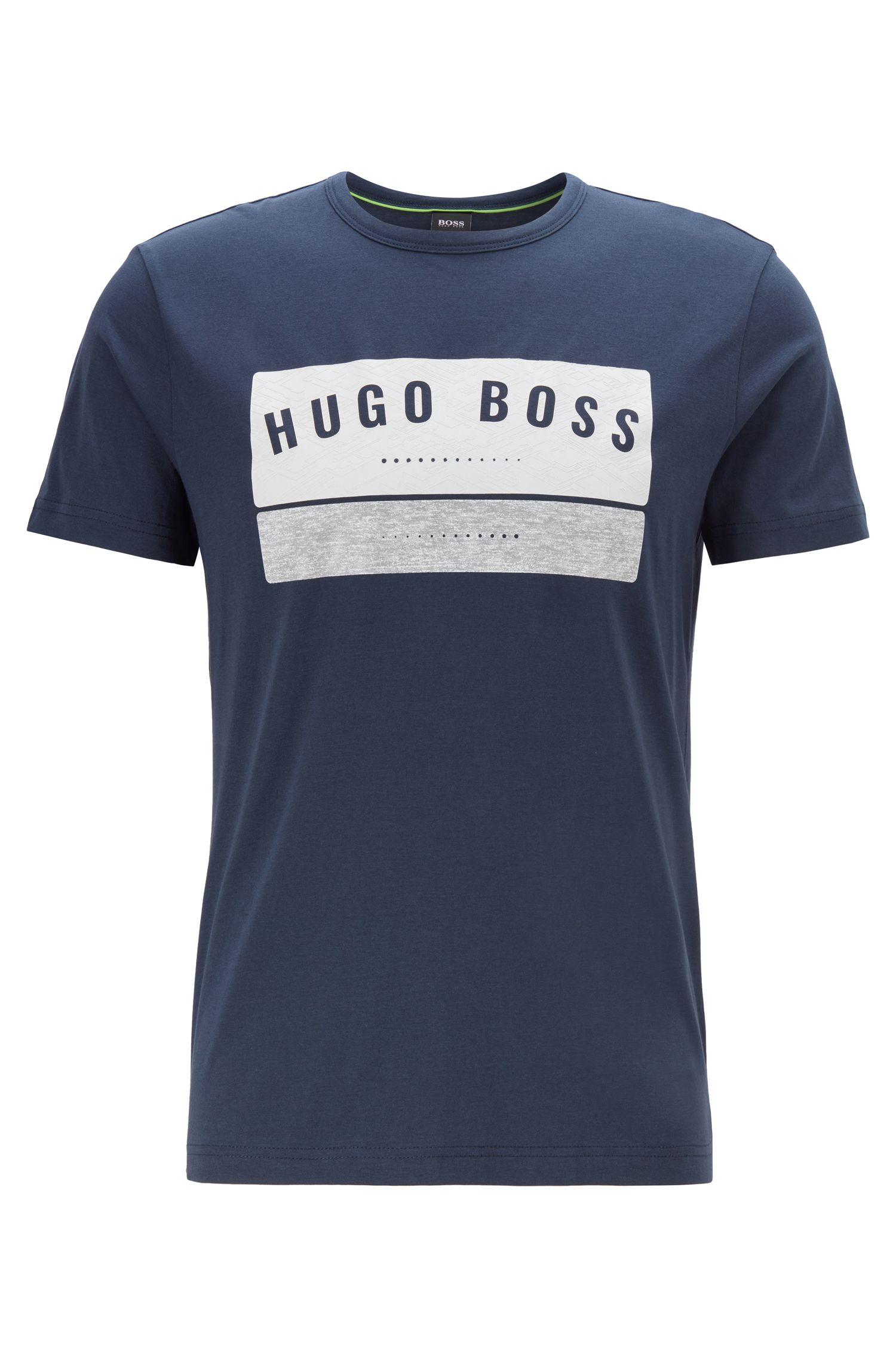 T-Shirt aus Baumwolle mit markantem Logo-Artwork, Dunkelblau
