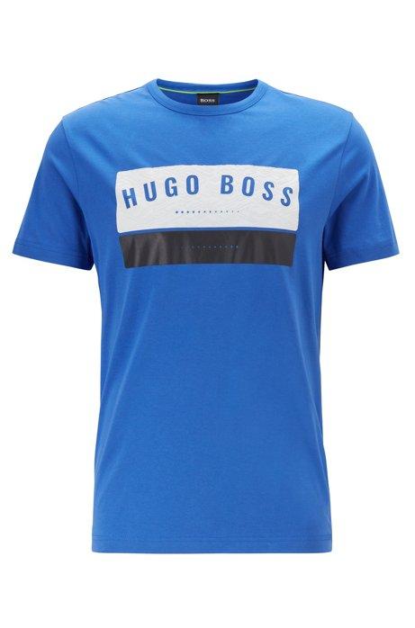 T-shirt en coton avec logo arty imprimé à haute densité, Bleu