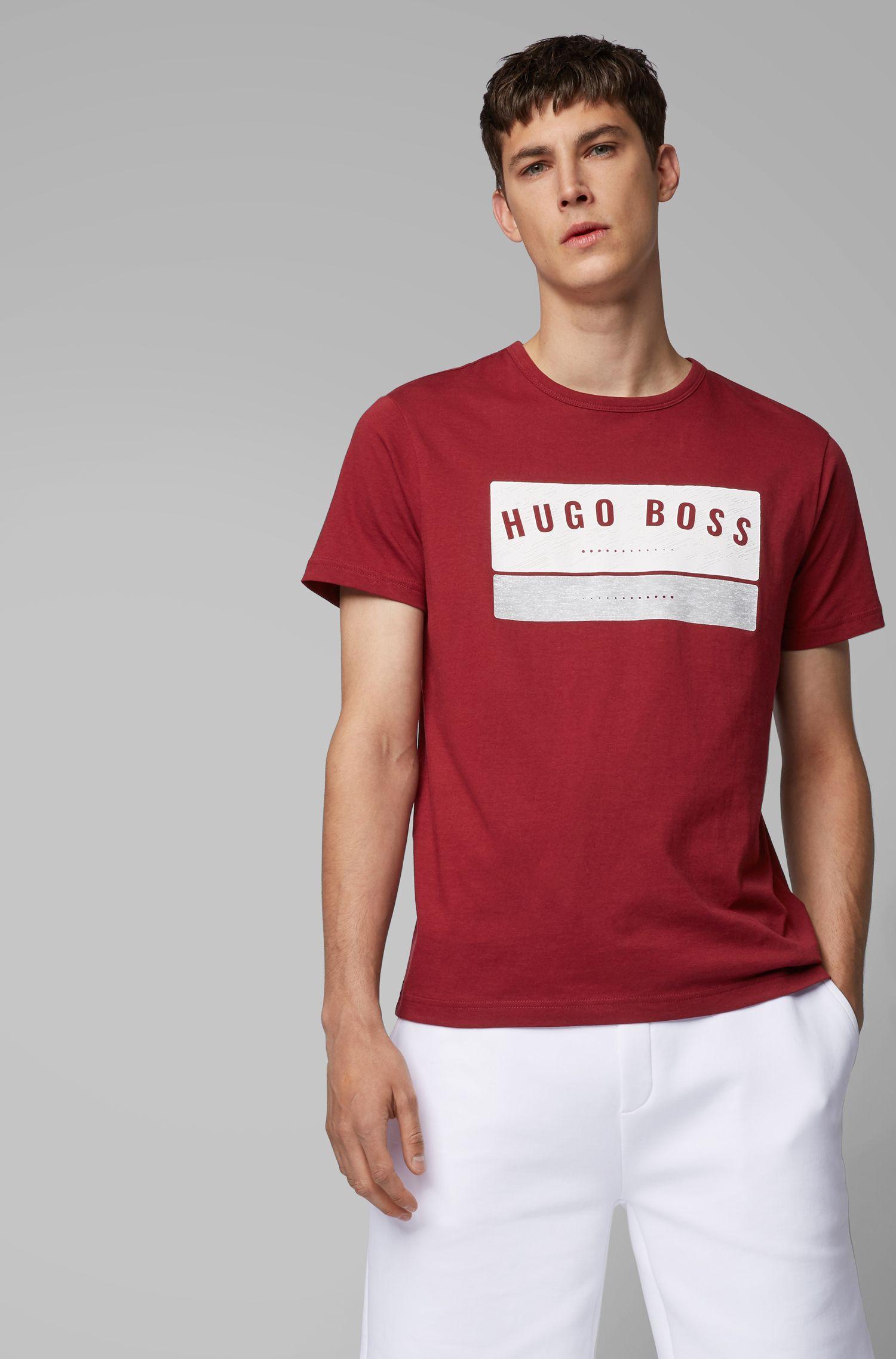 Cotton T-shirt with high-density logo artwork, Dark pink