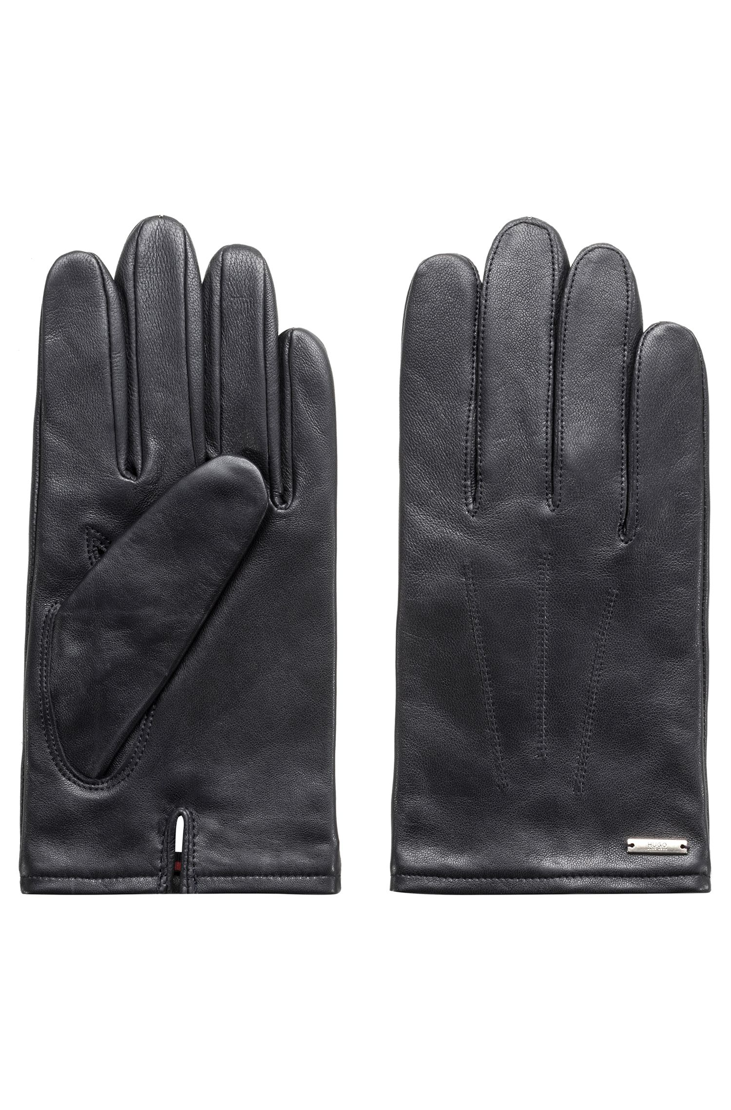 Lambskin gloves with signature cashmere lining, Dark Blue
