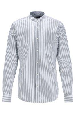Slim-Fit Hemd mit Stehkragen und Streifen-Dessin, Schwarz