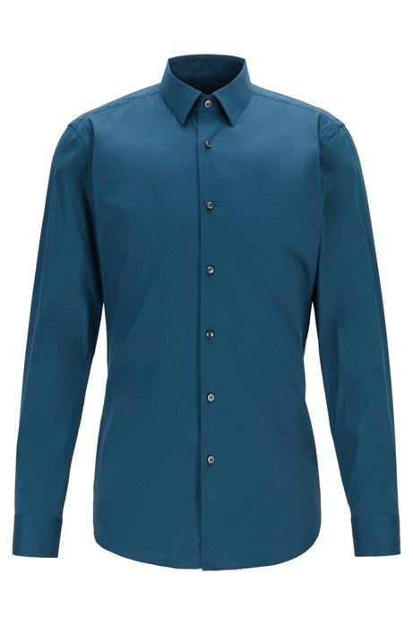 Slim-Fit Hemd aus Stretch-Popeline, Blau