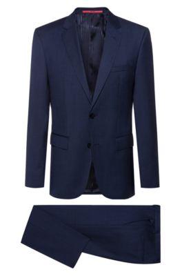Dezent gemusterter Regular-Fit Anzug aus leichter Schurwolle, Dunkelblau
