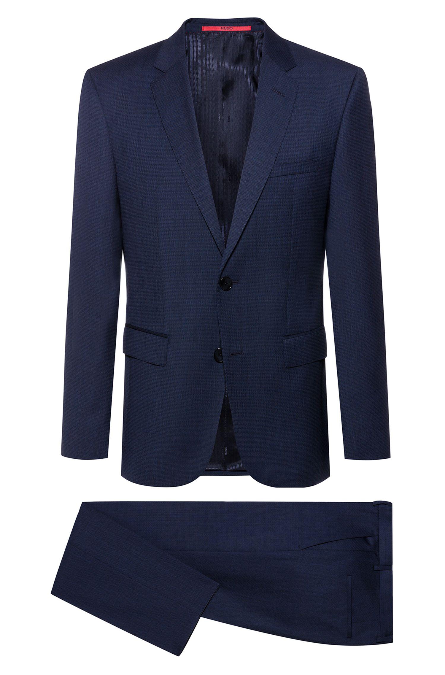 Regular-fit kostuum van tropische wol met microdessin, Donkerblauw