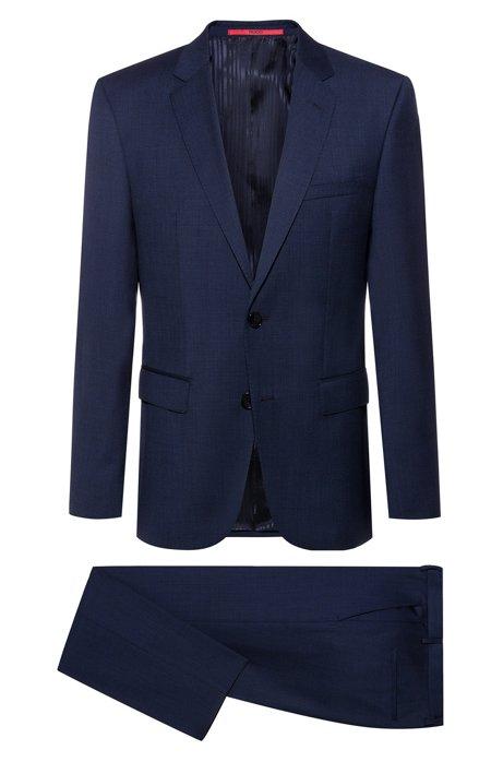 Costume Regular Fit en laine tropicale à micromotif, Bleu foncé
