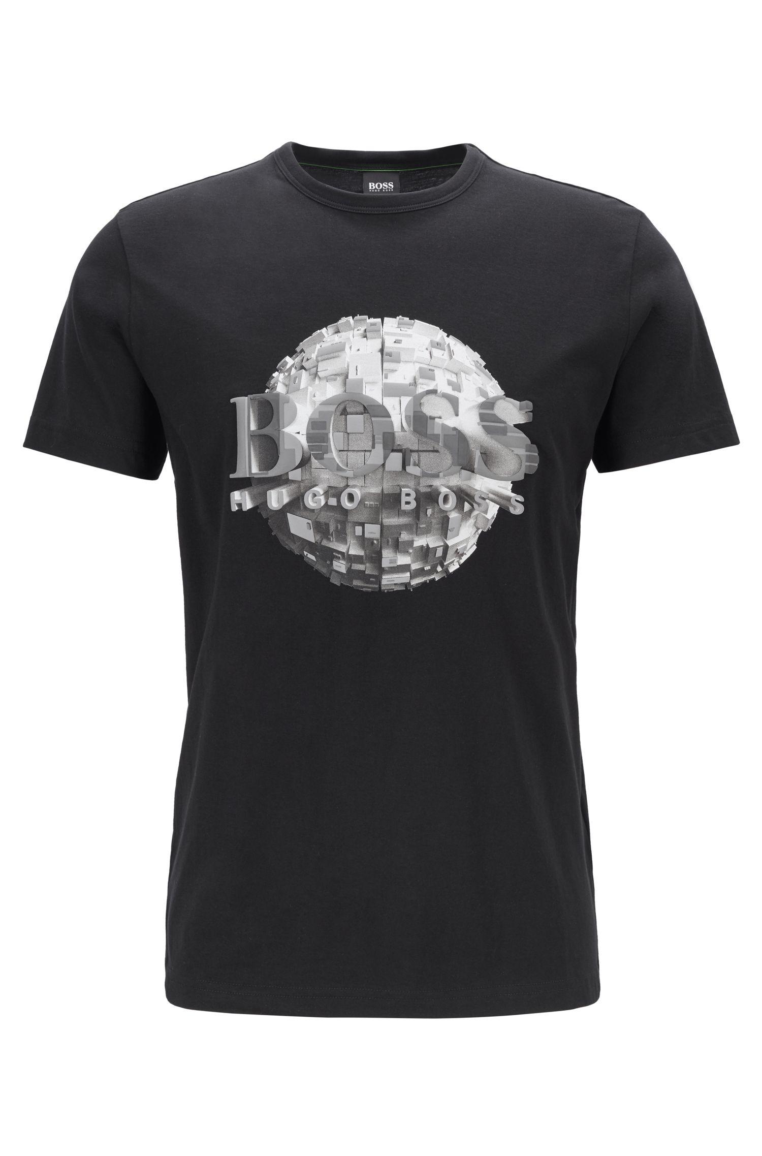 T-shirt Regular Fit en jersey de coton avec motif globe, Noir