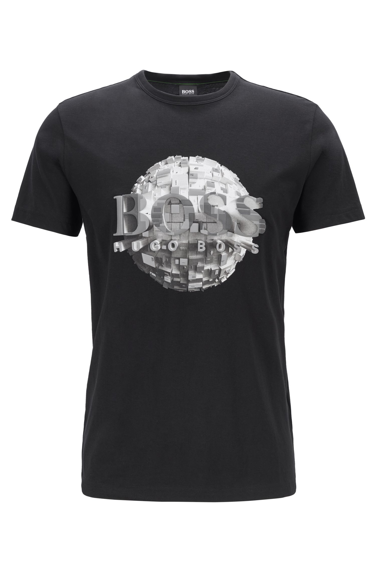 Regular-fit T-shirt in jersey cotton with globe artwork, Black