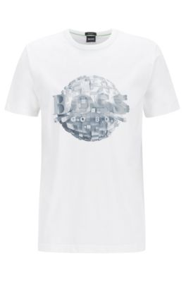 T-Shirt aus Baumwoll-Jersey mit Weltkugel-Motiv, Weiß