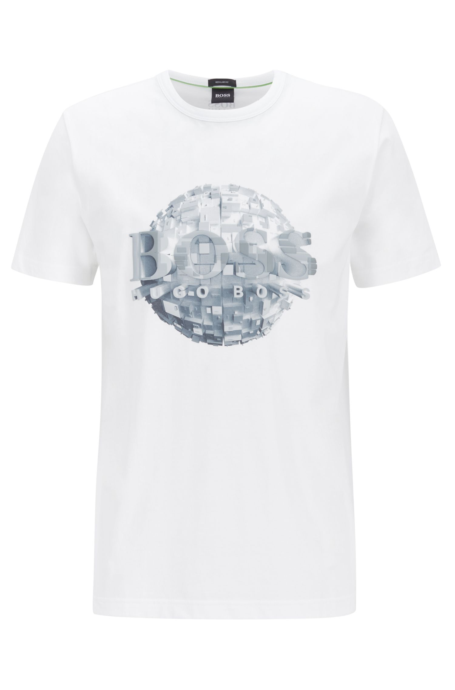 Regular-fit T-shirt in jersey cotton with globe artwork, White