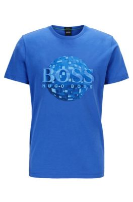 T-shirt regular fit in jersey di cotone con decorazione con globo, Blu