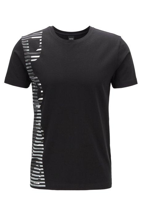 T-shirt van stretchkatoen met opvallend artwork-logo, Zwart