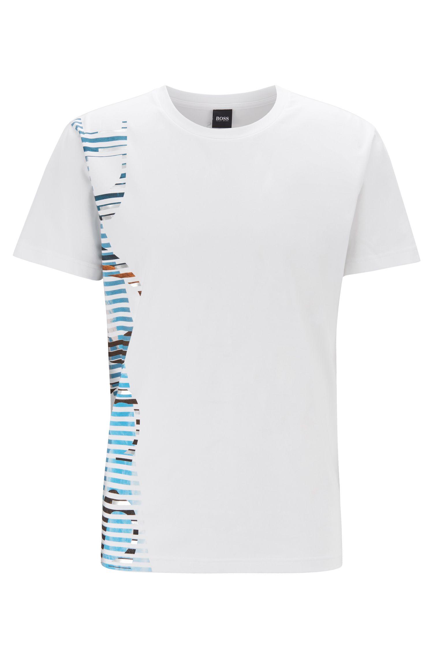 T-shirt en coton stretch à logo artistique tendance, Blanc