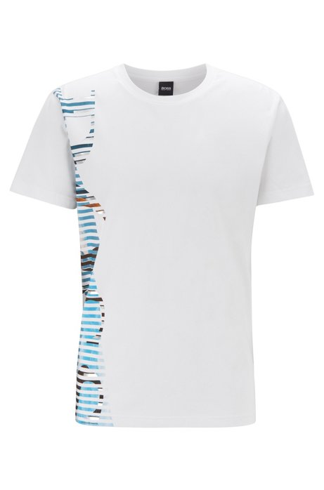 T-Shirt aus Stretch-Baumwolle mit markantem Logo-Artwork, Weiß