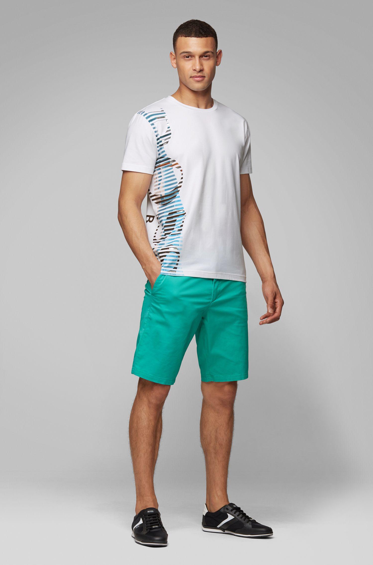 T-shirt van stretchkatoen met opvallend artwork-logo, Wit