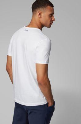 Shirt T Rond En Lignes À Col Avec Fines Un Artistique Aux Coton Motif b6yYgf7v
