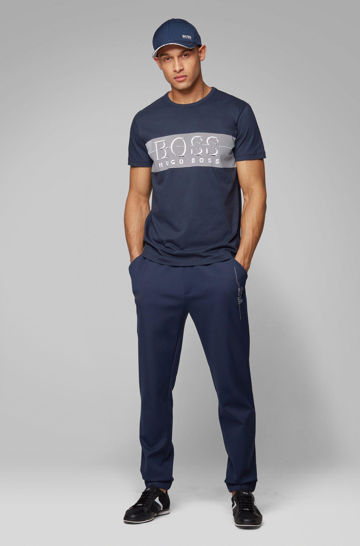 T-shirt à col rond en coton avec un motif aux lignes fines artistique, Bleu foncé