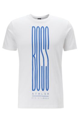 T-shirt in misto cotone ecosostenibile con logo stampato, Bianco