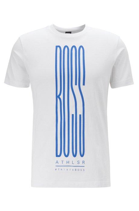 Camiseta con logo estampado en mezcla de algodón respetuoso con el medioambiente, Blanco