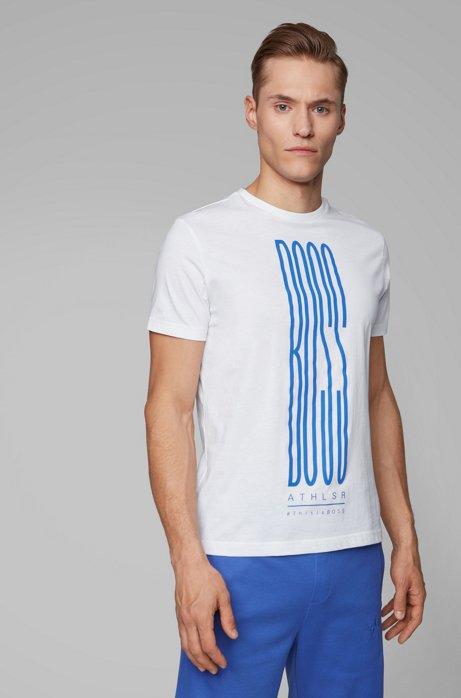 T-shirt à logo imprimé en coton mélangé éco-responsable, Blanc