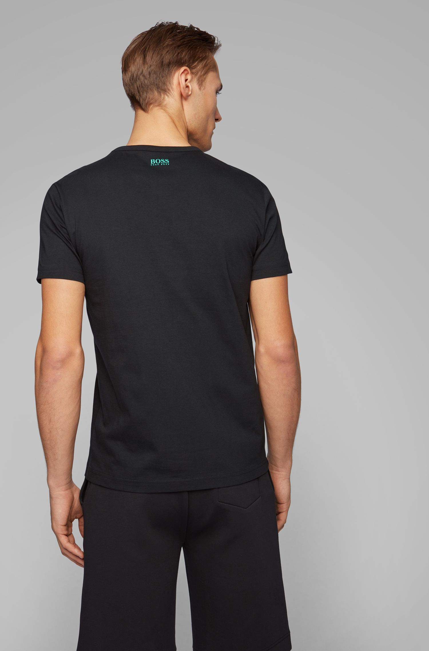 Regular-fit T-shirt in cotton with deconstructed logo artwork, Black