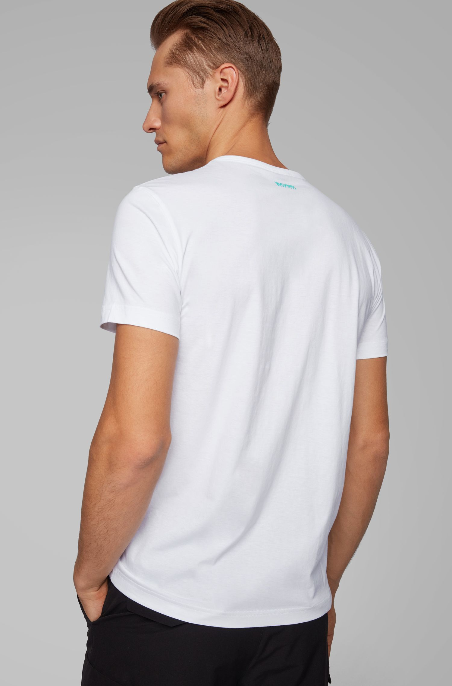 Regular-fit T-shirt in cotton with deconstructed logo artwork, White