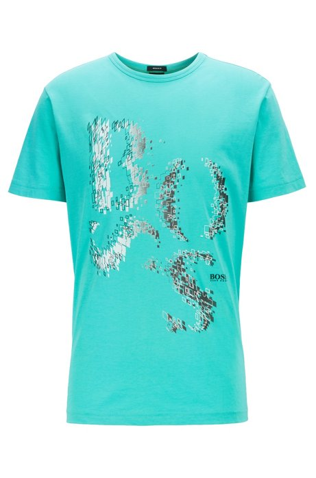 Regular-fit T-shirt in cotton with deconstructed logo artwork, Light Green