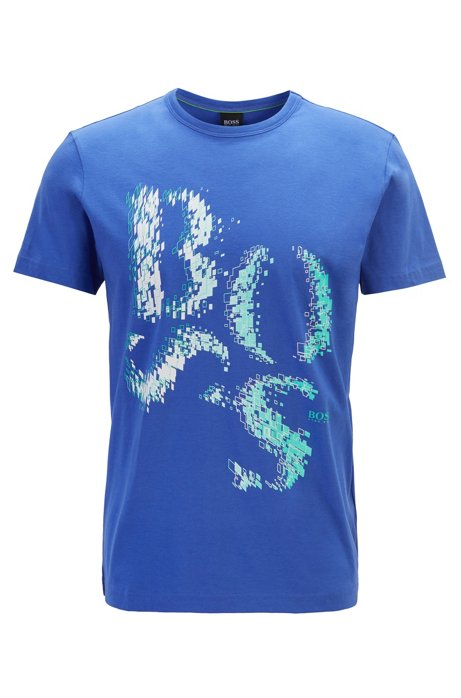 Regular-fit T-shirt in cotton with deconstructed logo artwork, Blue