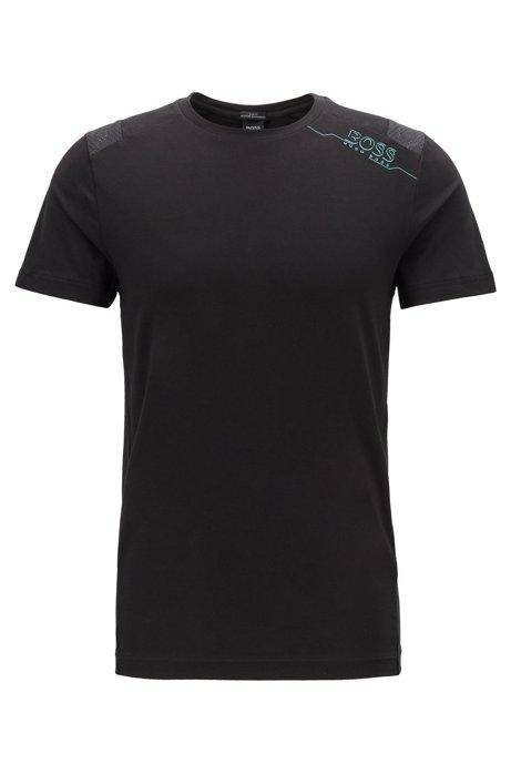 Slim-fit T-shirt met S.Café® en geperforeerde panelen, Zwart