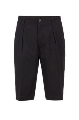 Relaxed-Fit Shorts aus hochgezwirnter elastischer Baumwoll-Gabardine, Schwarz