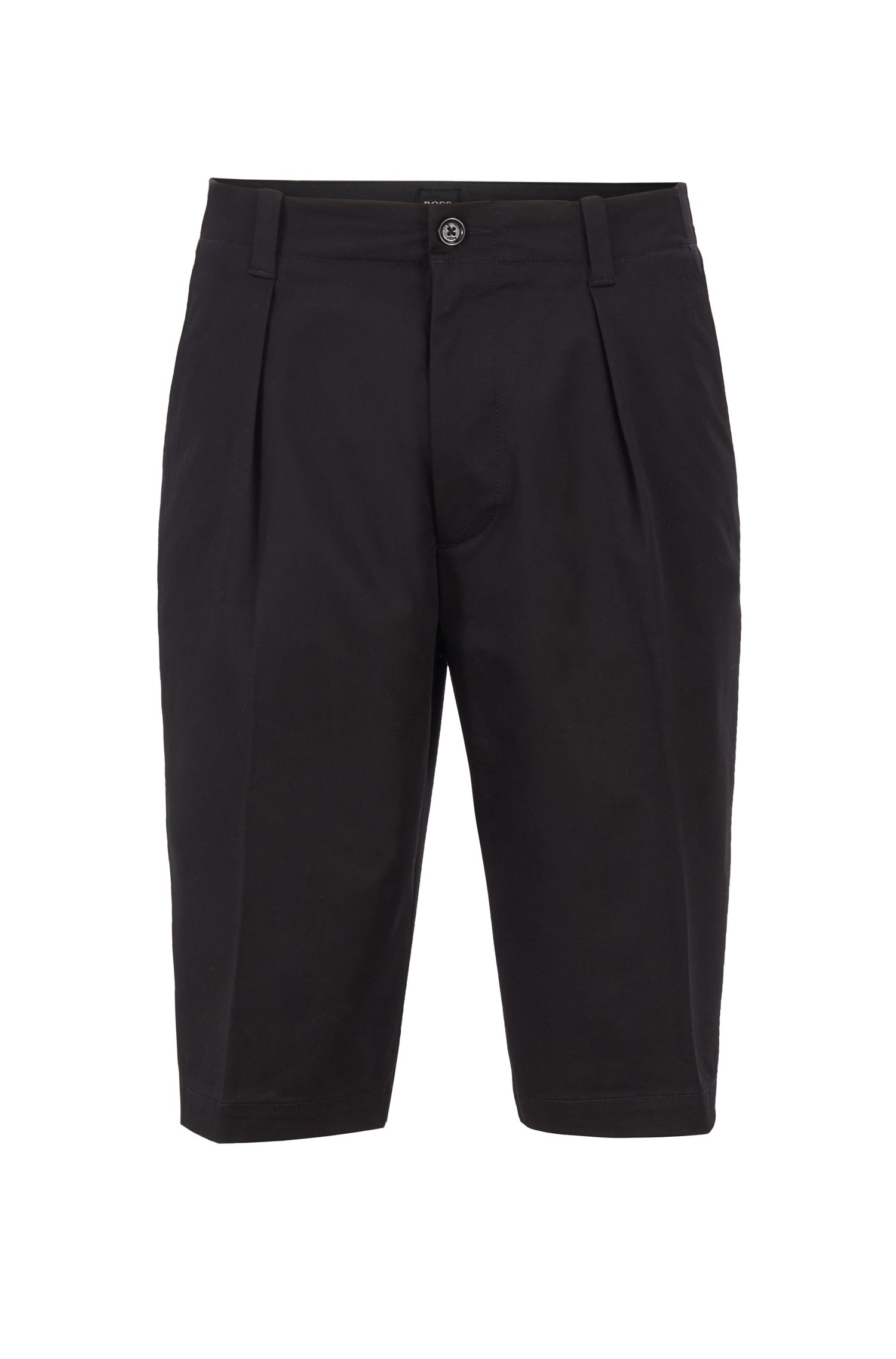 Relaxed-fit shorts in high-twisted stretch-cotton gabardine, Black