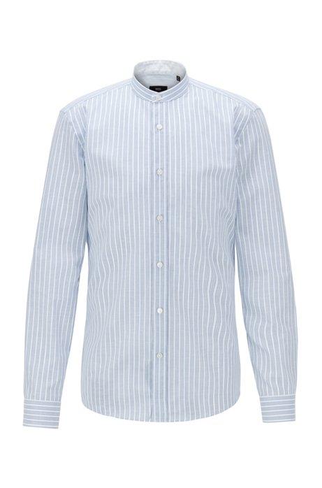 Camisa slim fit a rayas con cuello mao, Blanco