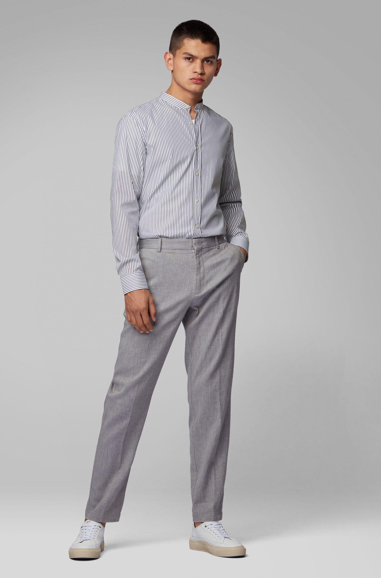 Slim-Fit Hemd mit Stehkragen und Streifen, Weiß