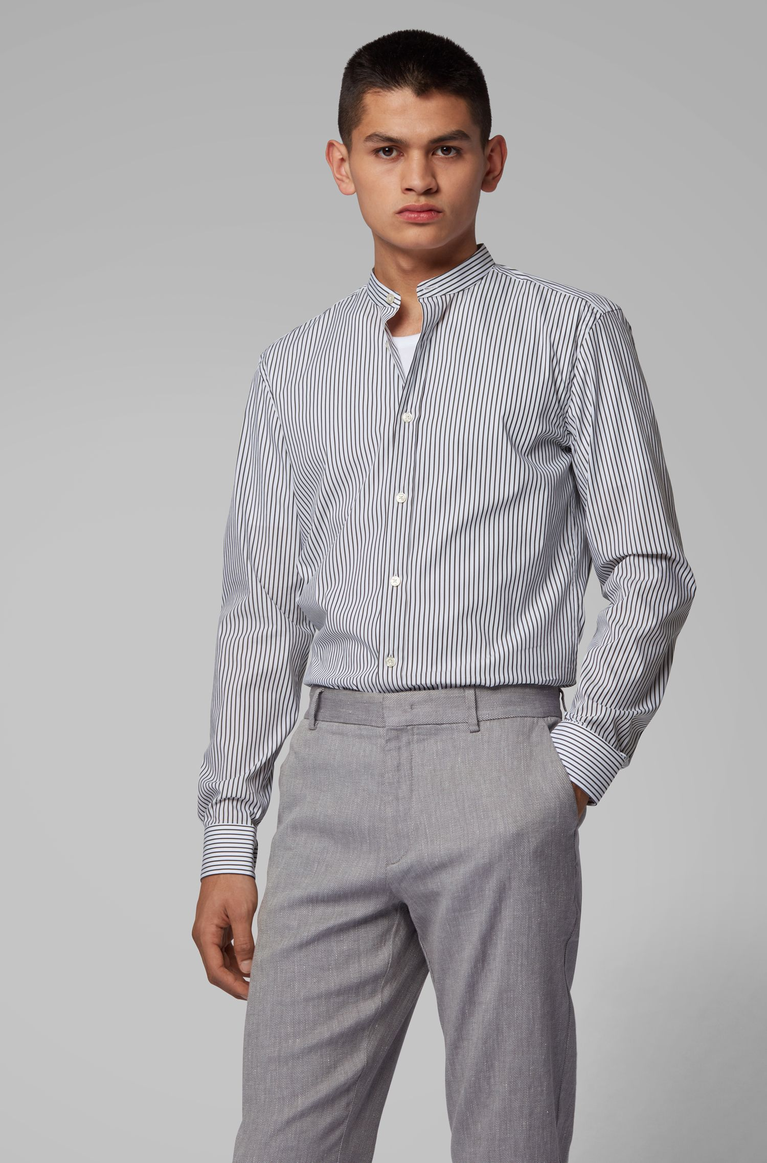Striped slim-fit shirt with stand collar, Open White