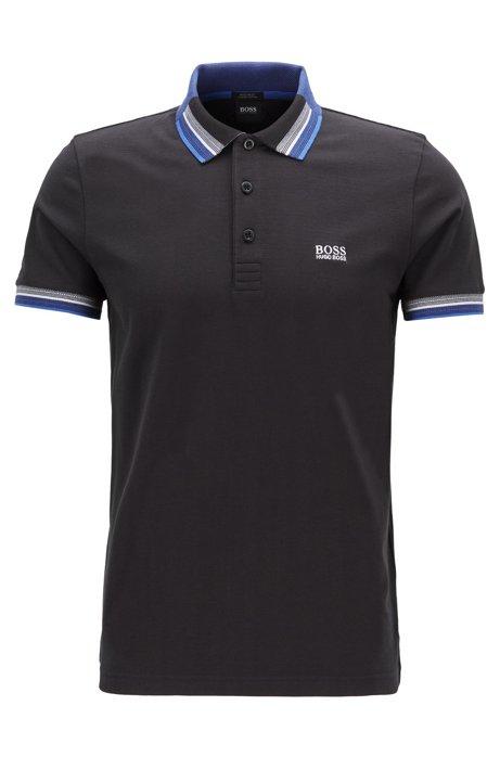 Piqué cotton polo shirt with multicoloured collar and cuffs, Black
