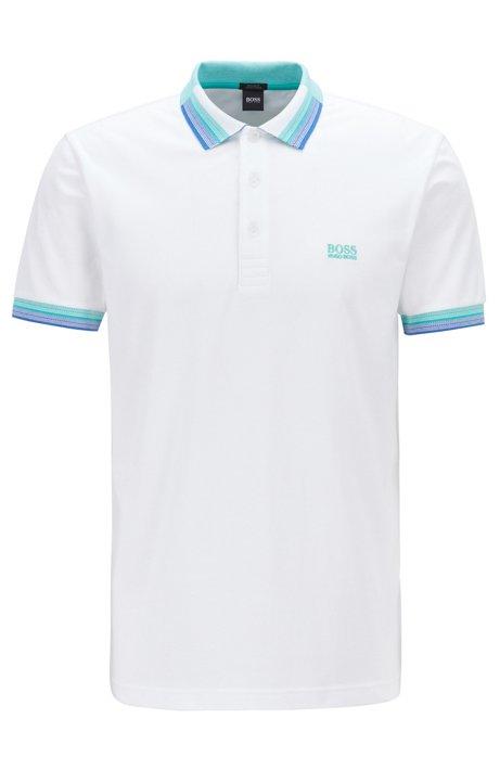 Polo en piqué de coton avec col et poignets multicolores, Blanc