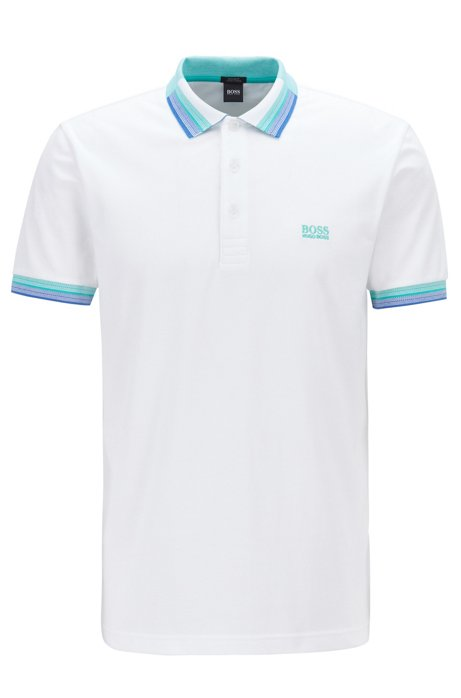 Piqué cotton polo shirt with multicoloured collar and cuffs, White