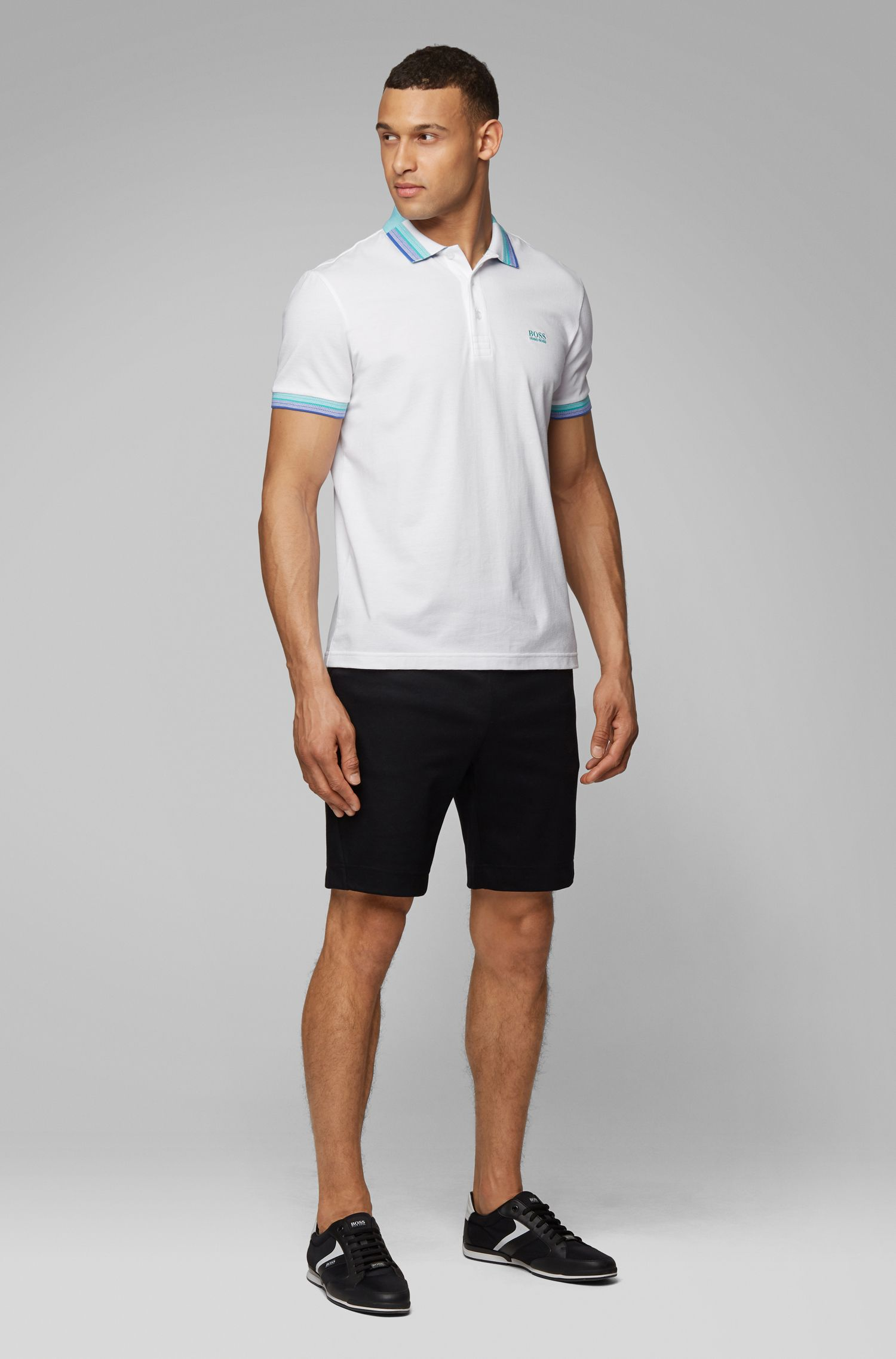 Polo in piqué di cotone con colletto e fondo manica multicolore, Bianco
