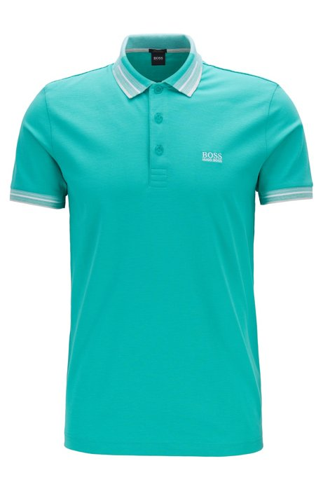 Piqué cotton polo shirt with multicoloured collar and cuffs, Light Green
