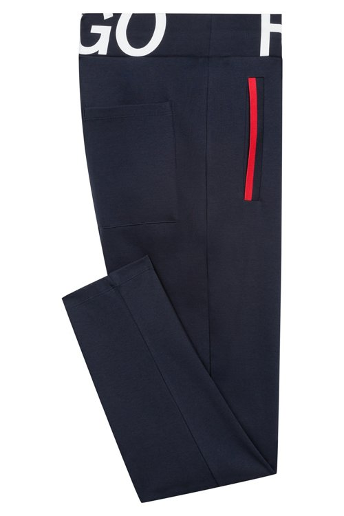 Hugo Boss - Slim-fit trousers in interlock cotton with logo waistband - 5