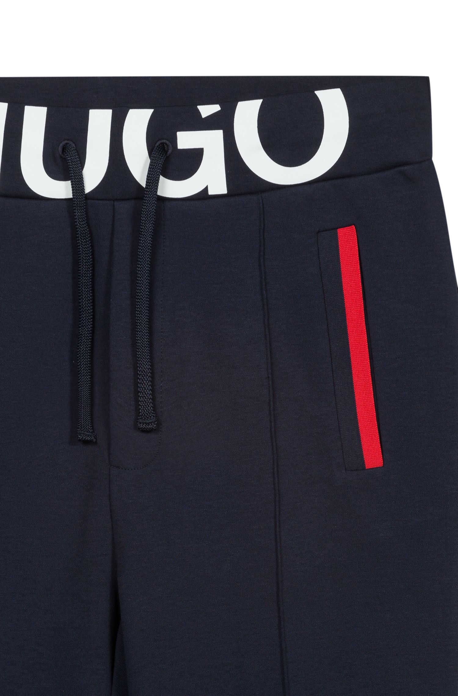 Hugo Boss - Slim-fit trousers in interlock cotton with logo waistband - 4