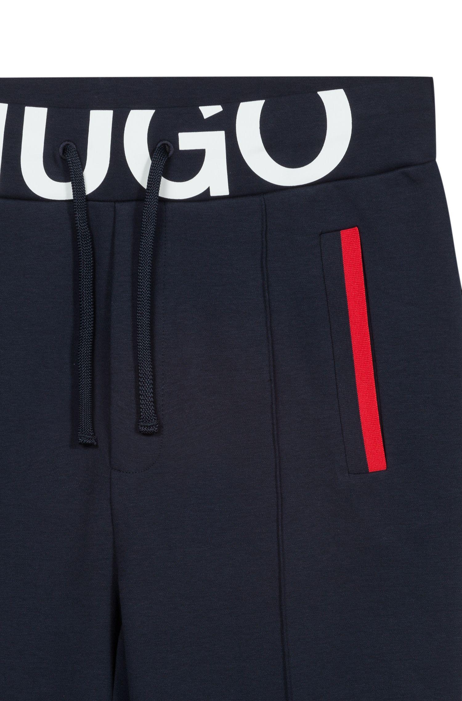 Slim-Fit Hose aus Interlock-Baumwolle mit Logo am Bund, Dunkelblau