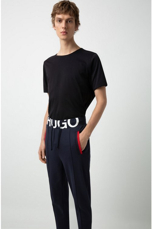 Hugo Boss - Slim-fit trousers in interlock cotton with logo waistband - 3