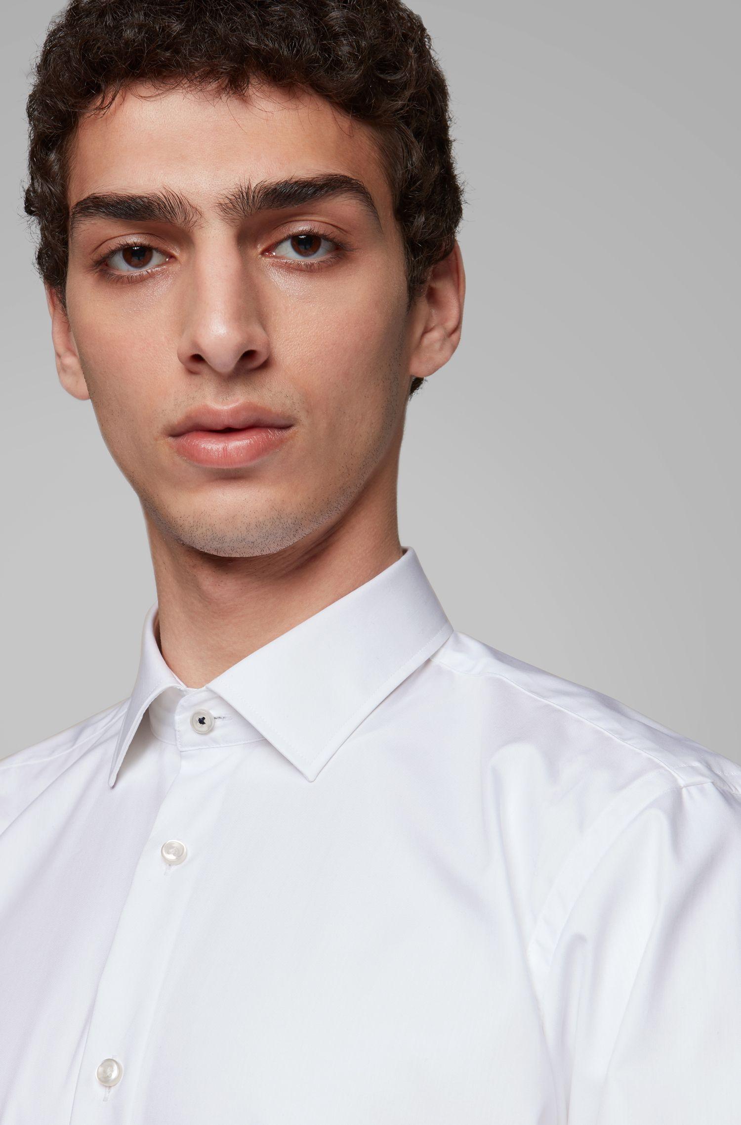 Regular-fit overhemd in een popeline van gemakkelijk te strijken katoen, Wit