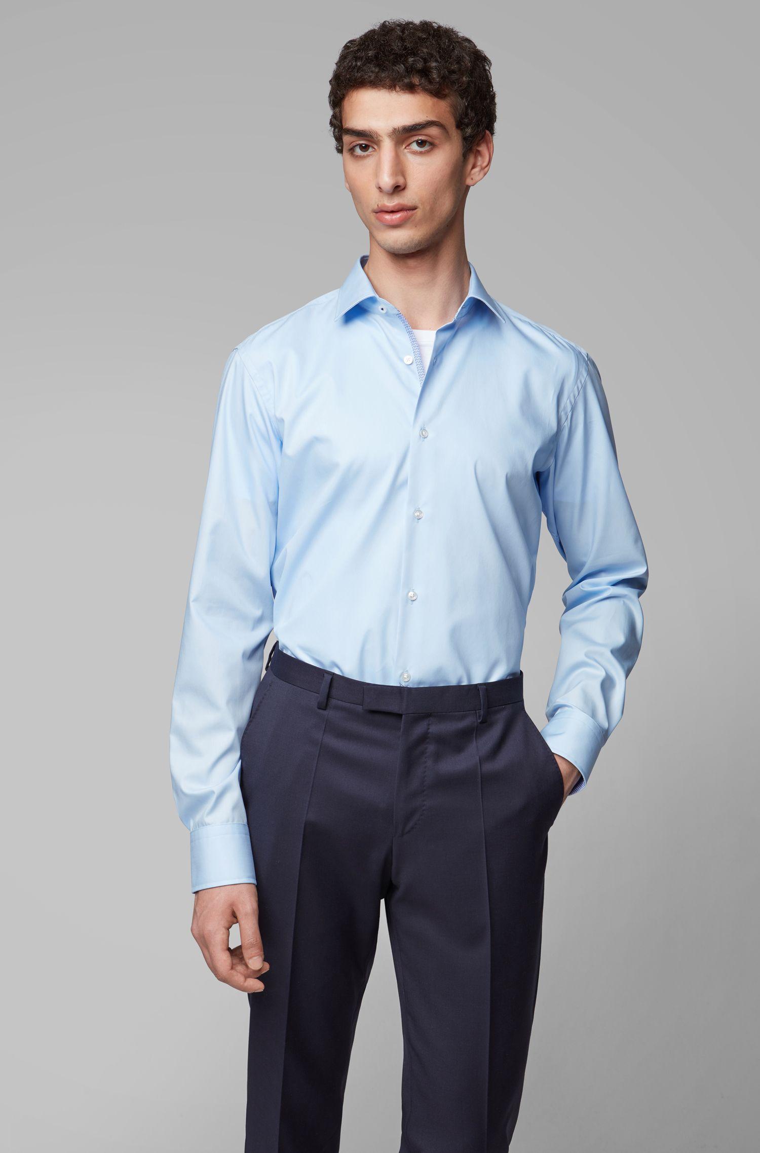 Camicia regular fit in popeline di cotone facile da stirare, Celeste