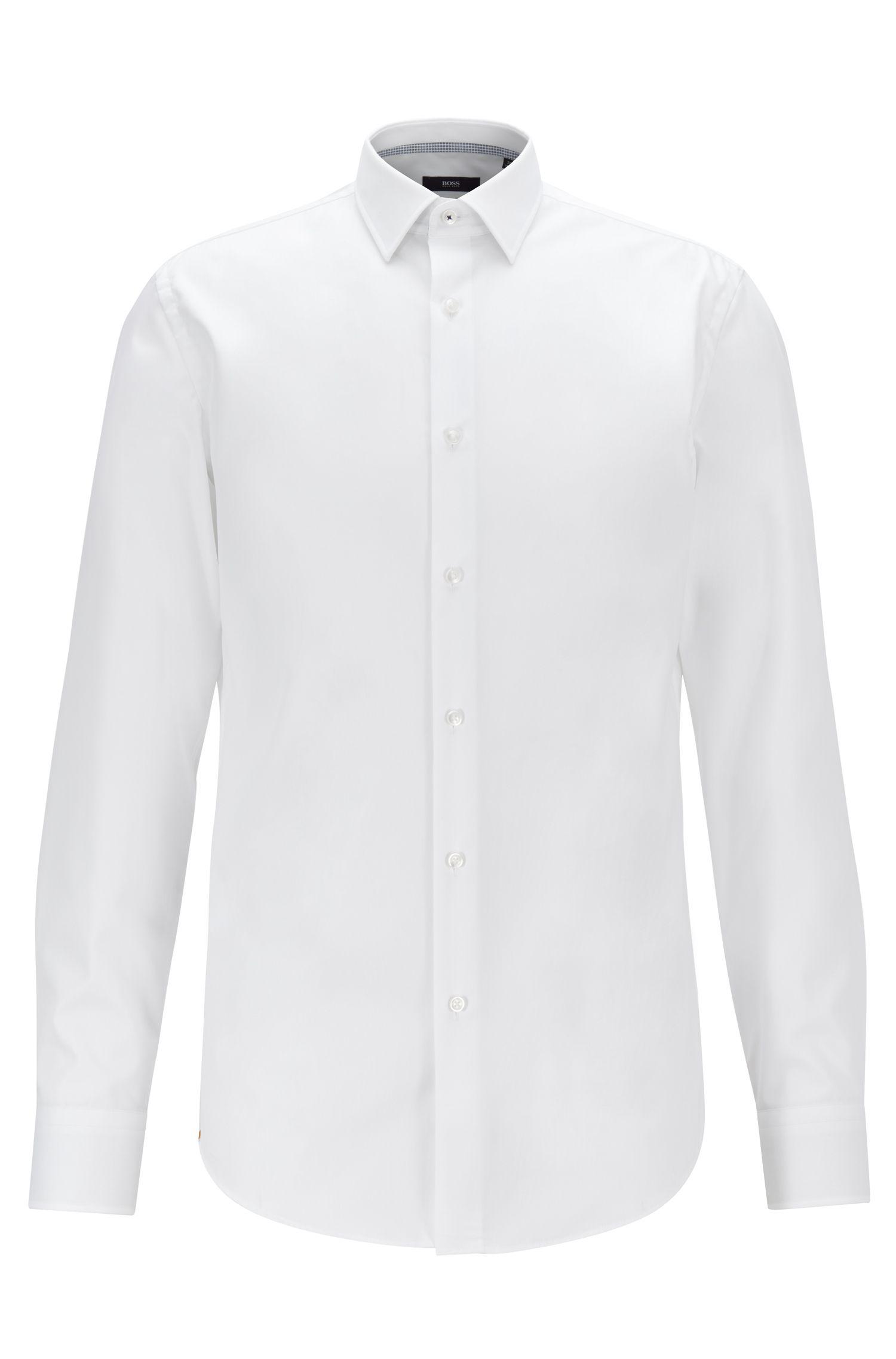 Slim-Fit Hemd aus bügelleichter Baumwolle, Weiß
