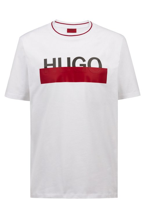 Hugo Boss - Cotton T-shirt with partially concealed logo - 1