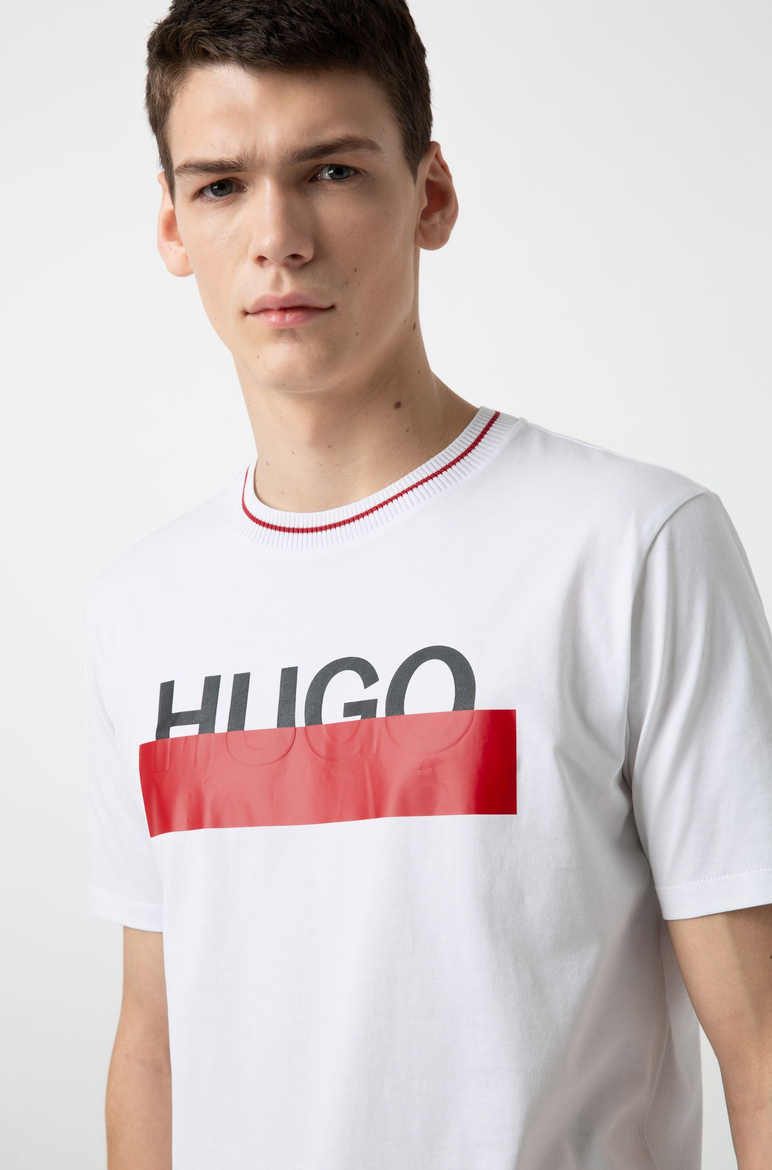 T-shirt in cotone con logo parzialmente nascosto, Bianco
