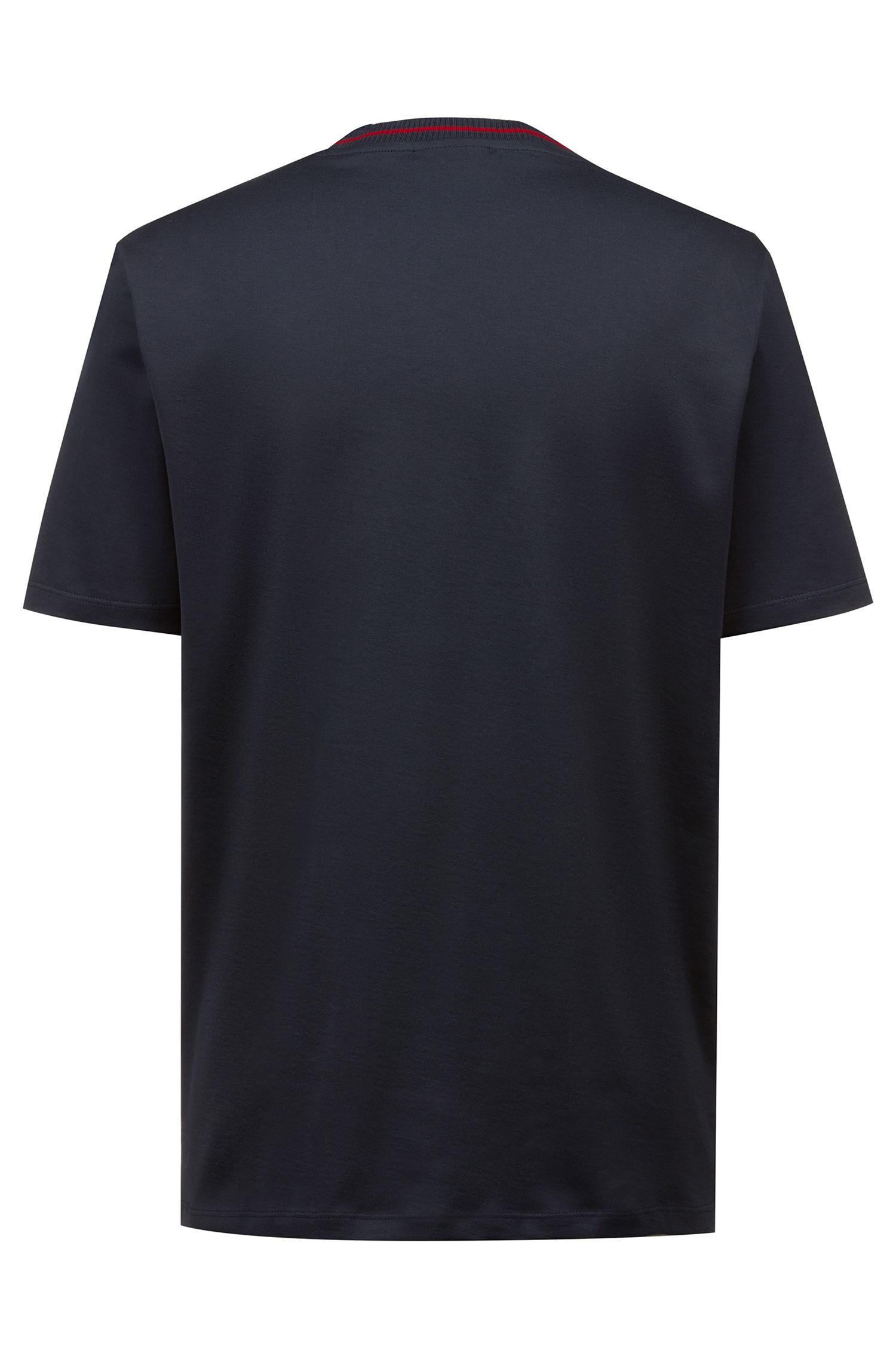 T-Shirt aus Baumwolle mit teilweise verdecktem Logo, Dunkelblau