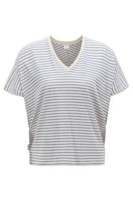T-shirt Oversized Fit en coton mélangé à rayures, Chair