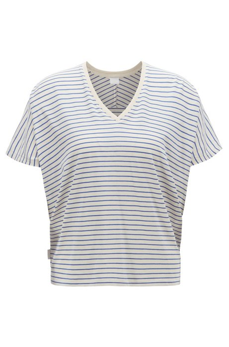 Oversized T-shirt in a striped cotton blend, Natural